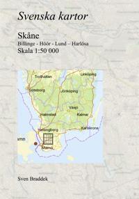 Svenska kartor. Billinge - Höör - Lund – Harlösa (Skåne)