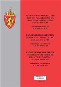Plan- og bygningsloven ; Byggesaksforskriften : (forskrift om byggesak) av 26. mars 2010 nr. 488 : med endringer, sist ved forskrift av 23. mai 2018 nr. 754 ; Byggteknisk forskrift : (forskrift om tekniske krav til byggverk) av 19. juni 2017 nr. 840 : med endringer, sist ved forskrift av 11. juni 2018 nr. 854