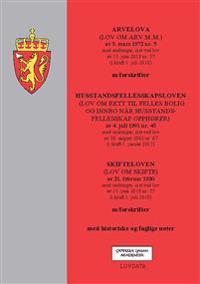 Arvelova ; Husstandsfellesskapsloven : (lov om rett til felles bolig og innbo når husstandsfellesskap opphører) av 4. juli 1991 nr. 45 : med endringer, sist ved lov av 30. august 2002 nr. 67 (i kraft 1. januar 2013) ; Skifteloven : (lov om skifte) av 21. februar 1930 : med endringer, sist ved lov av 15. juni 2018 nr. 37 (i kraft 1. juli 2018) : m/forskrifter : med historiske og faglige noter
