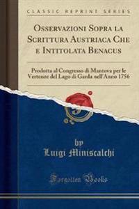 Osservazioni Sopra la Scrittura Austriaca Che e Intitolata Benacus