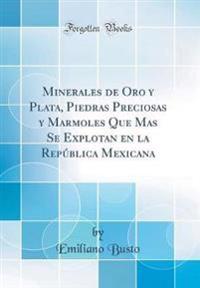 Minerales de Oro y Plata, Piedras Preciosas y Marmoles Que Mas Se Explotan en la República Mexicana (Classic Reprint)