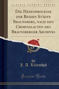 Die Hexenprocesse der Beiden Städte Braunsberg, nach den Criminalacten des Braunsberger Archives (Classic Reprint)