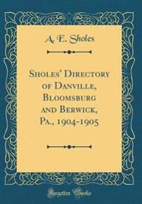 Sholes' Directory of Danville, Bloomsburg and Berwick, Pa., 1904-1905 (Classic Reprint)