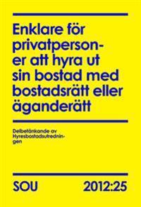 Enklare för privatpersoner att hyra ut sin bostad med bostadsrätt eller äganderätt : delbetänkande SOU 2012:25