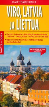 Viro, Latvia, Liettua kartta + opas 1:800 000