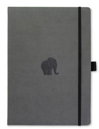 Dingbats* Wildlife A4+ Grey Elephant Notebook - Dotted
