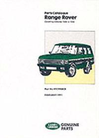 Range Rover Parts Catalog: Covering Vehicles 1986/1991 MY: Part No RTC9908CB