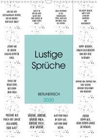 BERLINERISCH Lustige Sprüche (Wandkalender 2020 DIN A3 hoch)