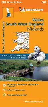 Wales South West England Midlands Michelin 503 delkarta : 1:400000