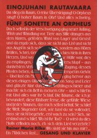 Funf Sonette an Orpheus: Voice and Piano