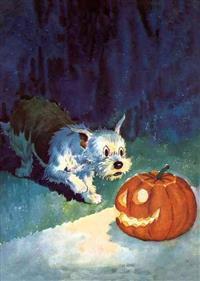 Dog Startled by Jack-O-Lantern Halloween Greeting Cards [With Envelope]