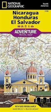 National Geographic Adventure Map Nicaragua, Honduras, El Salvador