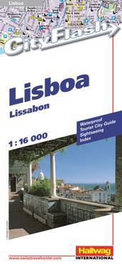 Lissabon City Flash Hallwag stadskarta : 1:16000