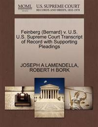 Feinberg (Bernard) V. U.S. U.S. Supreme Court Transcript of Record with Supporting Pleadings