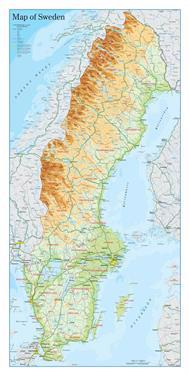 Map of Sweden : Displaykartong, 20-pack