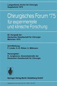 92. Kongress der Deutschen Gesellschaft fur Chirurgie, Munchen, 7.-10. Mai 1975