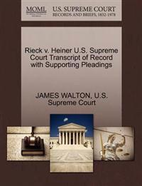 Rieck V. Heiner U.S. Supreme Court Transcript of Record with Supporting Pleadings