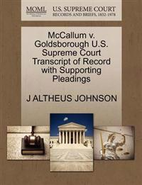 McCallum V. Goldsborough U.S. Supreme Court Transcript of Record with Supporting Pleadings