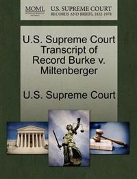 U.S. Supreme Court Transcript of Record Burke V. Miltenberger