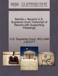 Barnitz V. Beverly U.S. Supreme Court Transcript of Record with Supporting Pleadings