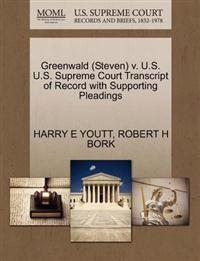 Greenwald (Steven) V. U.S. U.S. Supreme Court Transcript of Record with Supporting Pleadings