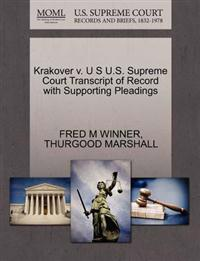 Krakover V. U S U.S. Supreme Court Transcript of Record with Supporting Pleadings