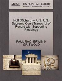 Hoff (Richard) V. U.S. U.S. Supreme Court Transcript of Record with Supporting Pleadings