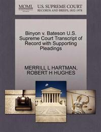 Binyon V. Bateson U.S. Supreme Court Transcript of Record with Supporting Pleadings