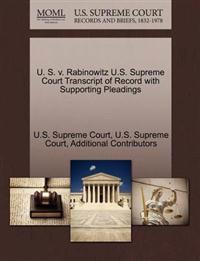 U. S. V. Rabinowitz U.S. Supreme Court Transcript of Record with Supporting Pleadings