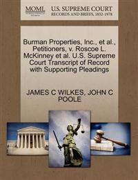 Burman Properties, Inc., Et Al., Petitioners, V. Roscoe L. McKinney Et Al. U.S. Supreme Court Transcript of Record with Supporting Pleadings