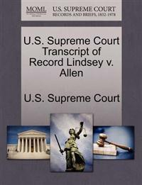 U.S. Supreme Court Transcript of Record Lindsey V. Allen