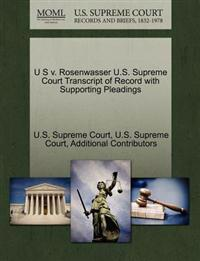 U S V. Rosenwasser U.S. Supreme Court Transcript of Record with Supporting Pleadings