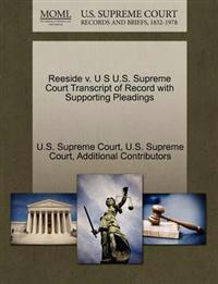 Reeside V. U S U.S. Supreme Court Transcript of Record with Supporting Pleadings