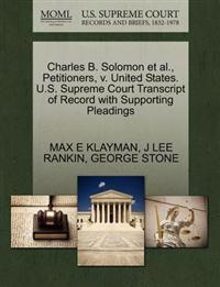Charles B. Solomon et al., Petitioners, V. United States. U.S. Supreme Court Transcript of Record with Supporting Pleadings
