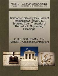 Timmons V. Security Sav Bank of Marshalltown, Iowa U.S. Supreme Court Transcript of Record with Supporting Pleadings