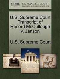 U.S. Supreme Court Transcript of Record McCullough V. Janson