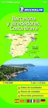 Barcelona Y Alrededores Costa Brava Michelin 147 Delkarta Spanien