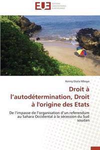 Droit A L Autodetermination, Droit A L'Origine Des Etats