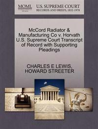 McCord Radiator & Manufacturing Co V. Horvath U.S. Supreme Court Transcript of Record with Supporting Pleadings