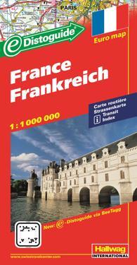 Frankrike Distoguide Hallwag karta : 1:1milj