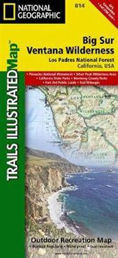 National Geographic Big Sur, Ventana Wilderness Los Padres National Forest Map