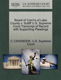 Board of Com'rs of Lake County V. Sutliff U.S. Supreme Court Transcript of Record with Supporting Pleadings