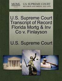 U.S. Supreme Court Transcript of Record Florida Mortg & Inv Co V. Finlayson