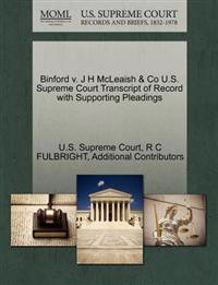 Binford V. J H McLeaish & Co U.S. Supreme Court Transcript of Record with Supporting Pleadings