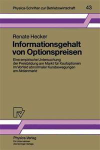 Informationsgehalt Von Optionspreisen
