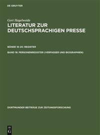 Personenregister ( Verfasser Und Biographien)