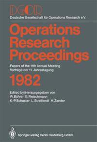 DGOR Papers of the 11th Annual Meeting Vortrage Der 11. Jahrestagung