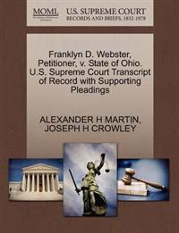 Franklyn D. Webster, Petitioner, V. State of Ohio. U.S. Supreme Court Transcript of Record with Supporting Pleadings