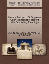 Hess V. Amidon U.S. Supreme Court Transcript of Record with Supporting Pleadings