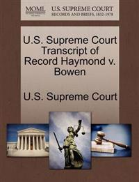 U.S. Supreme Court Transcript of Record Haymond V. Bowen